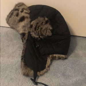 Aqua fur lined quilted hat